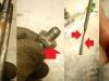 Praktycznie 90% śrub, nakrętek itd jest poniszczonych. Nawet szpilki noszą ślady ataku. Na foto widać ogryzek miarki oleju oszlifowany przez koła zębate.