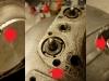 Praktycznie 90% śrub, nakrętek itd jest poniszczonych.  Młotek i przecinak w natarciu. Widoczne poniszczone przylgnie śrub w zagłębieniach trzeba będzie frezować do uzyskania równej powierzchni.