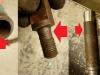 Czas na ramę wózka. W jednym z zastrzałów jest bardzo słaby gwint, naprawy wymagają także uszy mocujące. Na foto widać ośki motocykla - w miejscach mocowania (wahacz tył i laga teleskopu) ośki mają wyrobienia na 0,2-0,3mm. Źle to wpłynie na pewność ich mocowania w zawieszeniu.