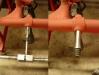 Naprawa łożyskowania stopki hamulca. Rozwiercanie aby zlikwidować owalizację, napawanie ośki i jej toczenie pod wymiar otworu.