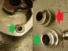 Do naprawy otworów trzeba było wykonać wkładki M10/M6 i wkleić je na klej do gwintów. Oryginalna oprawa tłoczka wycisku była bardzo zniszczona więc obrobiłem drugą, w lepszym stanie. Oprawa została zatulejowana wkładką ze stali nierdzewnej.
