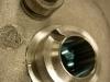 I kolejne toczenie - regeneracja rozbitego gniazda tłoczka wycisku poprzez wprasowanie cienkościennej tulei ze stali nierdzewnej.