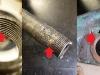 Na foto: resztki gwintu w nakrętce centrującej górną półkę, stan gwintu na sztycy i rozbite gniazdo nakrętki centrującej w górnej półce.