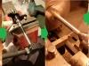 Etapy naprawy łożyskowania pedałów - toczenie nowych nadwymiarowych drążonych osiek, rozwiercanie pedałów do nadwymiaru osiek. Teraz jest bez luzu i pedały pięknie się obracają choć....