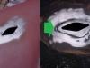 Otwór kierunkowskazu wypiaskowany, docięta reperaturka którą następnie wlutowałem na cynę. Zastosowałem tę metodę aby nie pogiąć powierzchni błotnika zbyt wysoką temperaturą.