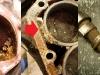 Cały płaszcz wodny jest zanieczyszczony skrystalizowanym płynem chłodniczym, przestrzeń wokół 4 cylindra była praktycznie w 80% zablokowana przez takie kryształy. Niestety wałek rozrządu ma zjedzoną przez korozję jedną krzywkę i nie nadaje się do przeróbki....