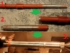Etapy naprawy łożyskowania kolumny kierownicy: rozcięcie fabrycznego spawu, zabielenie powierzchni pracy tulejki...   /   Steering column  repair: cutting of the factory weld, machining of the work surface of the sleeve...