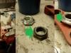 Etapy naprawy górnej półki - rozwiercenie otworu, napawanie nakrętki i toczenie jej na nadwymiar.
