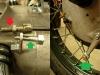Montaż linek. Linka sprzęgła ma śrubę regulacyjną z gwintem 8x0,75mm. Standardowo winno być 8x1mm. Jedyne rozwiązanie to przecięcie tej śruby i założenie innej. Do przedniej dźwigni trzeba było wytoczyć specjalną stopniowaną baryłkę.