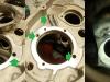 Blok rozfrezowany pod nadwymiarową obsadę łożyska. Ponieważ 2 otwory są już przerobione na M8 przez poprzedniego naprawiacza - trzeba dorobić szpilki redukcyjne M8/M6 i wkleić je na klej do gwintów. Można brać się za inne obróbki - na foto pogłębianie i właściwe profilowanie frezem kulowym kieszeni smarującej tylną podporę wałka rozrządu.