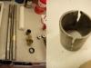 Obie lagi nie mają uszkodzonego chromu technicznego i są proste. Brąz i ertalon dokupiony - można toczyć nowe tuleje. Na foto tuleja z pechowego teleskopu -- aby ją wyjąć trzeba było ją poprzecinać frezem.